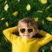 Minot en jaune dans l'herbe